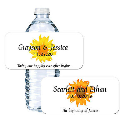 Sunflower Water Bottle Labels | Rustic Fall Wedding | Party Favor Stickers