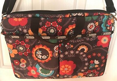 Pair of LESPORTSAC Large Shoulder Hobo Zipper Bag & Matching Laptop Bag RARE