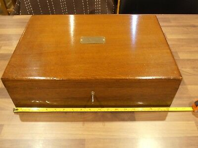 Large Antique Oak  Collectors Box w Brass Handles ,Lift out tray , lock and key