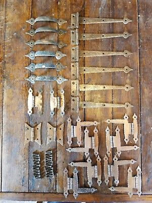 "Vintage Hammered Metal Copper Finish 6"" Strap Hinges & Drawer Pulls 66 Pc Lot"