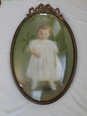 "Large Vintage Tinted Infant Photo In Oval Brass Bubble Dome Glass 20"" Frame"
