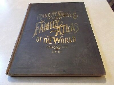 1890 Rand McNally & CO New Family Atlas of the World Indexed Color Maps States +