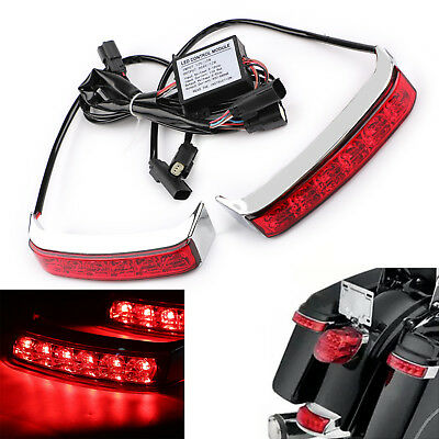 Saddlebag Tail Run Brake Turn Light Lamp LED Len For Harley Street Glide 2014-17