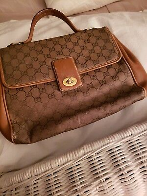 b833c20a1dff VINTAGE GUCCI BROWN Leather and Fabric Genuine Bag Purse - $37.00 ...