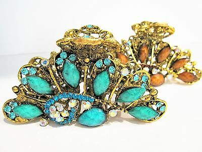 Extra large jeweled antique style bronze gold metal hair claw clips with crystal