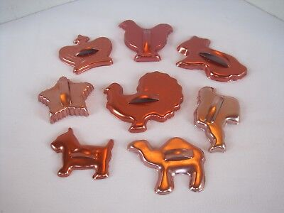 Vtg Mirro Metal Aluminum Copper Colored Cookie Cutters Set w/ Handles Christmas