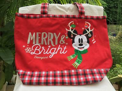 Disney Parks Disneyland Mickey Mouse Merry & Bright Christmas Holdiay Tote Bag