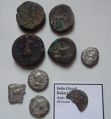 Lot of Indo-Greek & Scythian coins silver and Ae tetradrachm Baktria India east