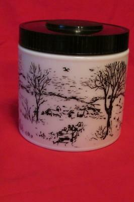 VINTAGE MILK GLASS HUMIDOR/GLASS CURRIER & IVES WINTER SCENE-WHITE/BLACK 1970s