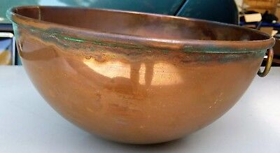 Vintage Copper Mixing Bowl With Ring 8 Inch Diameter
