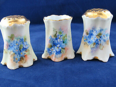 Vintage Rosenthal  Hand Painted Blue Flowers Salt & Pepper & Toothpick Holder