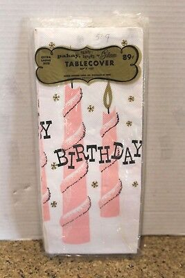 Vintage Mid Century HAPPY BIRTHDAY Party Tablecloth 1960's Pink candles NOS