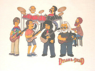 Dylan & The Grateful Dead as SIMPSONS T-shirt Jerry Garcia Lesh Weir