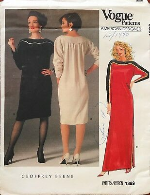 1970's VTG VOGUE Misses' Dress Geoffrey Beene Pattern 1389 Size 12 UNCUT