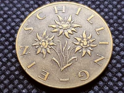 AUSTRIA 1 SCHILLING 1964 COIN with EDELWEISS FLOWER VERY NICE Cond