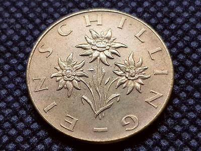 AUSTRIA 1 SCHILLING 1973 COIN EXCELLENT aUNC with EDELWEISS FLOWER