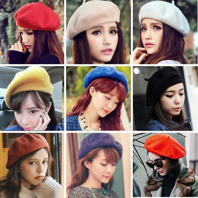 Hot Fashion Women Classic Wool Blend Warm French Fluffy Beanie Beret Hat Cap