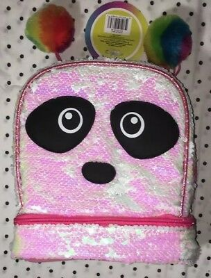 Magic Sequin 2 Way Panda Critter with Rainbow Pom Lunch Box New