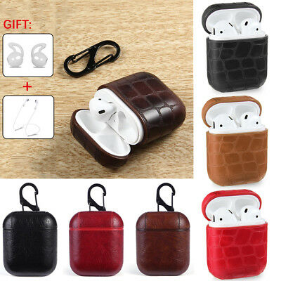 For Apple AirPods Leather Earphones Charger Case Cover Protective With Carabiner