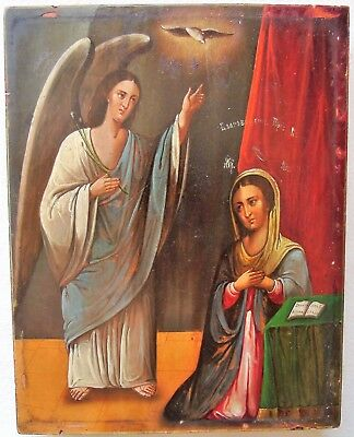 "Antique Russian Icon of ""Annunciation of the Blessed Virgin Mary"". 19th Century"
