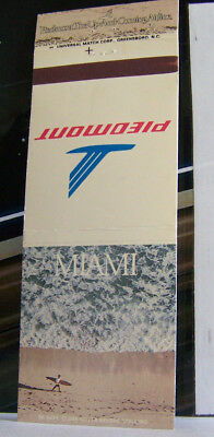 Rare Vintage Matchbook Cover G1 Piedmont Airlines Miami Florida Surfing Sea Wave