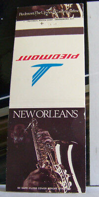 Rare Vintage Matchbook Cover G1 Piedmont Airlines Jazz New Orleans Louisiana