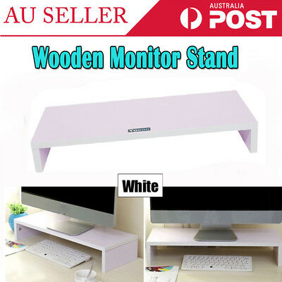 Wooden Monitor Shelf Stand LED Computer Riser Desktop Display Bracket White