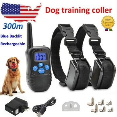 Rechargeable Shock Training Dog Collar Anti-Bark Remote E-Collar For S M L Dogs