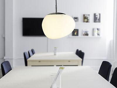 Ceiling Pendant Lamp Light Asymmetrical Irregular Glass White Liffel