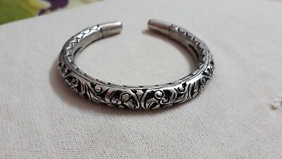Handmade 92.5 Sterling Silver Carved Bracelet Rajasthan Tribal Flexible Kada***