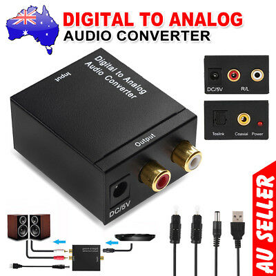 Digital Optical Coax Coaxial Toslink to Analog Audio Converter Adapter RCA