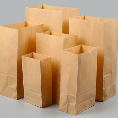 50/100x Brown Kraft Flat Block Bottom Paper Bag Heavy Duty Gift Party Loot Lunch