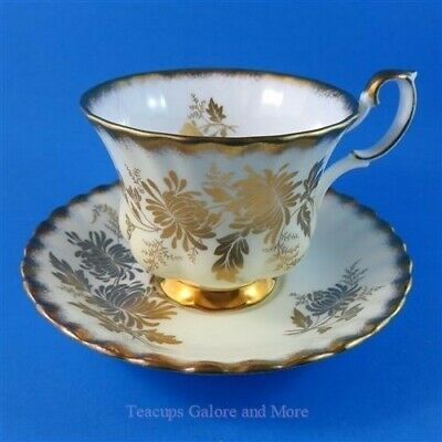 Royal Albert Vintage Series Gold Mums on Pale Yellow Tea Cup and Saucer Set