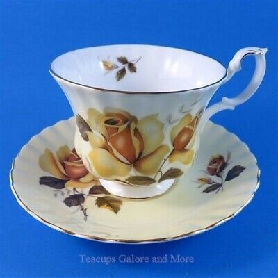 Royal Albert Yellow Rose on Pale Yellow Tea Cup and Saucer Set