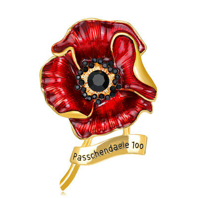 2018 Red Poppy Flower in Remembrance of the RAF 100 Silver /Gold Brooch