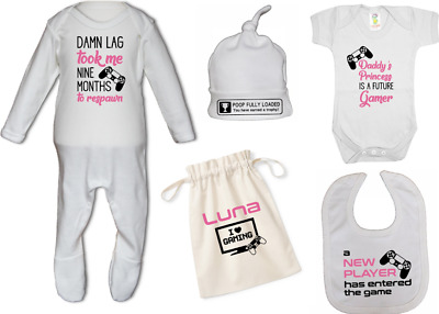 PS GIRLS GAMING BUNDLE Baby Sleep Suit, Bodysuit, Hat, Hospital Bag Newborn Gift