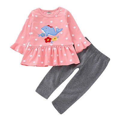2pcs Toddler Kids Baby Girl Clothes T-shirt Dress Tops+Pants Leggings Outfit Set