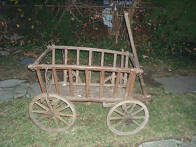 Antique Farm Wagon Goat Buggy Wooden Hay Cart  Late 1800's