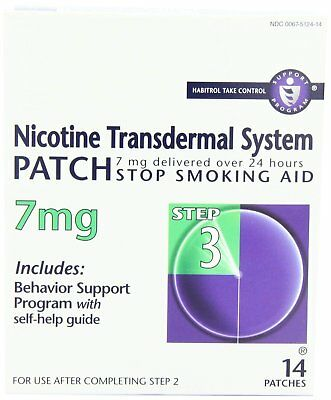 Habitrol Nicotine Transdermal System Stop Smoking Aid Step 3 7 mg 14 Ea, 2 Pack