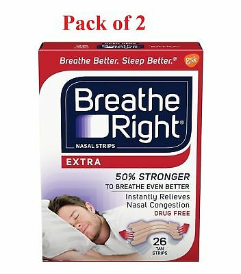 Breathe Right Tan Nasal Strips Extra Strength Instant Relief 26 Ea (Pack of 2)
