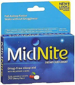 MidNite Dietary Supplement Chewable Tablets Cherry - 30 Tablets, Pack of 6