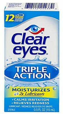 Clear Eyes Triple Action Relief Eye Drops 0.50 oz (Pack of 11)