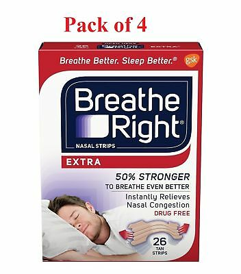 Breathe Right Tan Nasal Strips Extra Strength Instant Relief 26 Ea (Pack of 4)