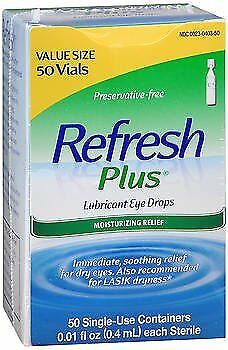 Refresh Plus Lubricant Eye Drops Single-Use Containers Sensitive - 50 ct,...