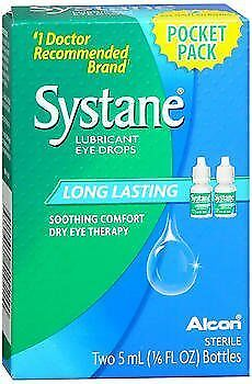 Systane Lubricant Eye Drops long Lasting , 2 - 0.165 oz Bottles, Pack of 4