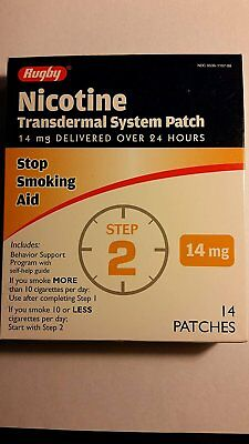 Rugby Nicotine Transdermal System Opaque Patch Step 2 Stop Smoking Aid 14 mg...