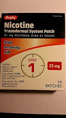 Rugby Nicotine Transdermal System Step 1 Stop Smoking Aid 21 mg 14 Patches
