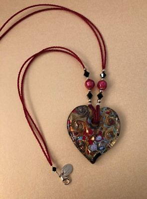 Gold Plated 925 Silver & Murano Glass Heart Pendant Necklace, By LINEA ITALIA.