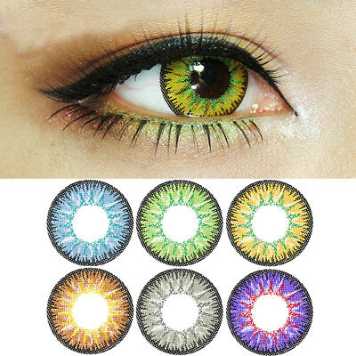 1 Pair Unisex Big Eye Makeup Charming Colored Contact Lenses Beauty Tool Intel