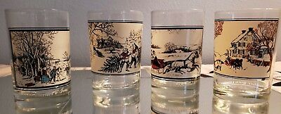 Arbys Currier and Ives Collector Series Winter Tumbler Glasses Lot of 4
